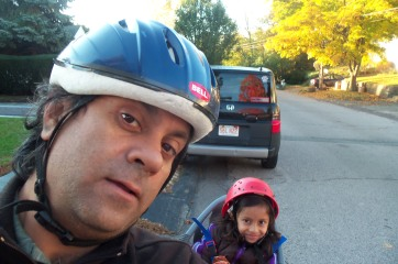 Somnath and Adrita ride to school