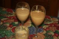 Blend mango, banana, cornmeal (leftover from breakfast) and a dash of whole raw milk. Sonika S, Arlington.
