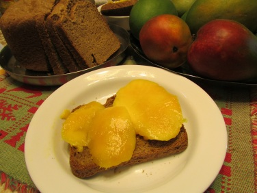 Slice ripe mangos and place on toasted bread.
