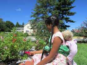 Gardening with baby on the back!