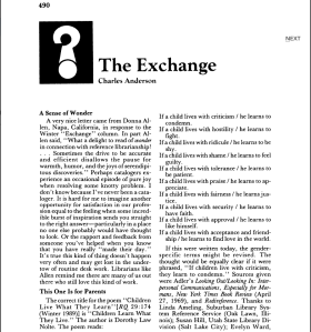 """Charles Anderson, """"The Exchange,"""" in RQ, Summer 1990, p. 490."""