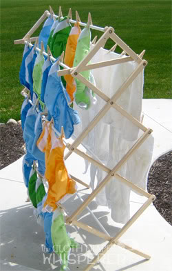 Diapers drying on the rack