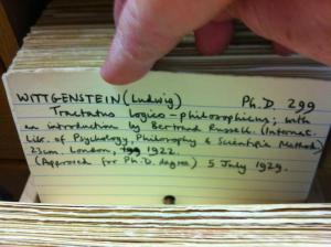 Wittgenstein's Dissertation in the Card Catalogue in Cambridge