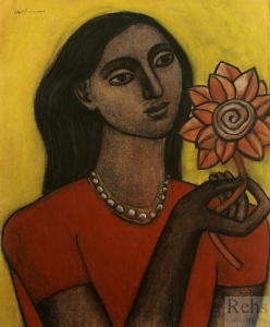 "Ugo Omleto Giannini, ""Woman with Flower."" Source: Wood Turtle ""Menstruation in Islam"""