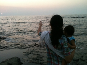 Rajitha and Kavya at sunset
