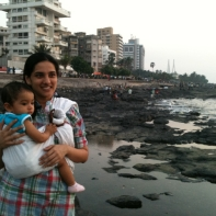 Rajitha Amma taking in the view with little Kavya in Mumbai
