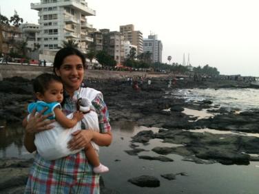Rajitha Amma taking in the view with little Kavya in Mumbai