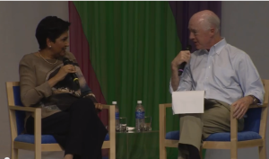 David Bradley, owner of The Atlantic and Indra Nooyi, CEO of Pepsi at the Aspen Ideas Festival.