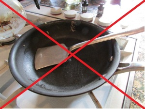 A steel spatula on non-stick cookware will eventually scratch the surface.