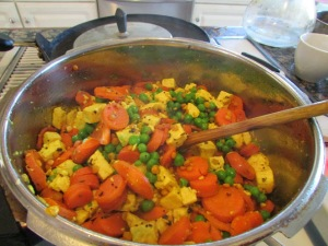 Peas, carrots and tofu kura.