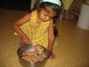Kids love to mix dough!
