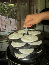 Place pans in the idli steamer on medium high flame for 20 minutes.