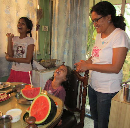 Disha enjoys a little watermelon birthday party :-)
