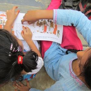 Reading picture books in Telugu