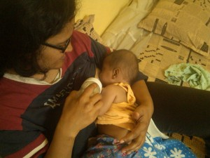 Tamia learning to breastfeed.