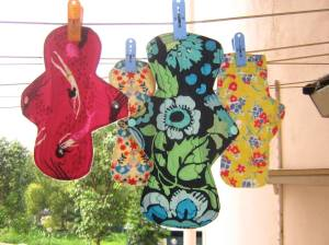 Cloth pads drying on the line.