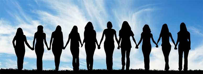 Silhouette-of-ten-women