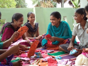 Girls talk about menstrual pads in Appalagraharam.