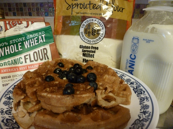 Millet-wheat waffle topped with blueberries.