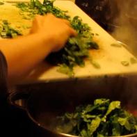 Add chopped collard greens.