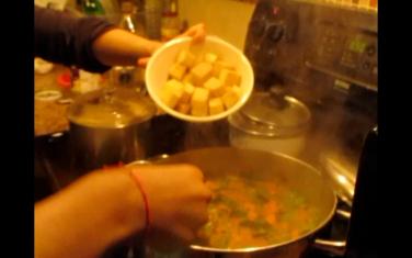 Add fried tofu cubes