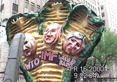 Puppets representing the World Bank, International Monetary Fund and the World Trade Organization at a World Bank protest in Washington, DC in April 2000.