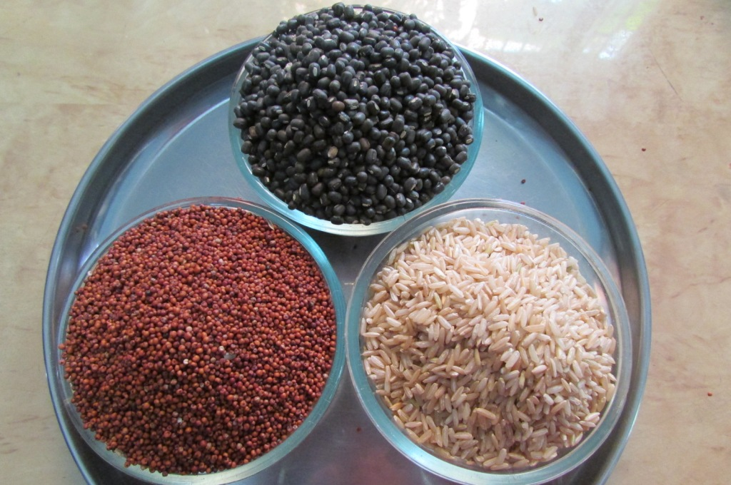 Rice, ragi and urad ready for soaking and grinding into idli / dosa batter.