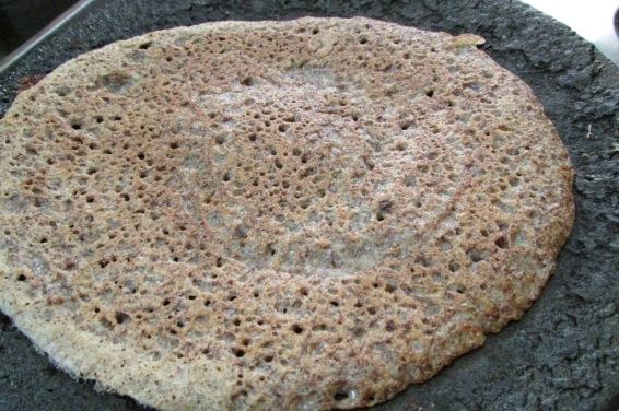 Dosa made of ragi (finger millet) and urad (black gram).