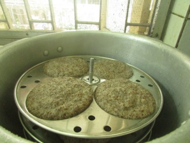 Ragi Idlis are steamed and ready to eat.