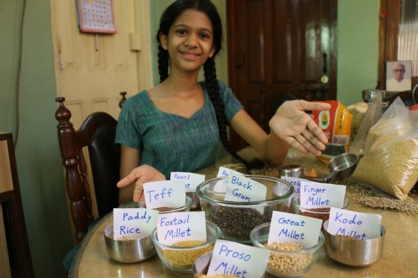 Khiyali measured 1/4 cup of each grain and 1 1/4 cup of urad (black gram)