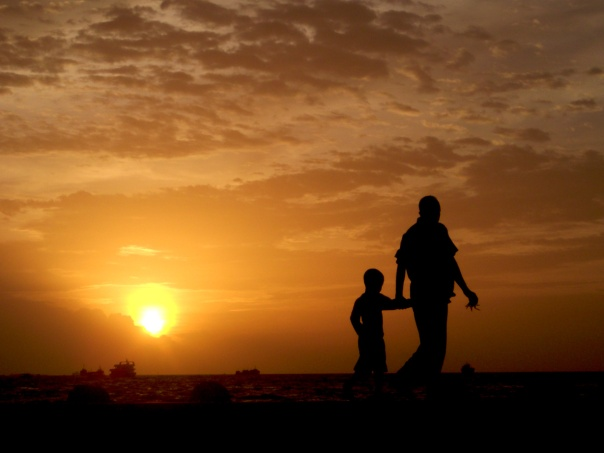 father son sunset